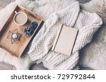mug with coffee and home decor... | Shutterstock . vector #729792844