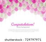 congratulation card pink flying ... | Shutterstock .eps vector #729797971
