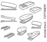 vector set of stapler | Shutterstock .eps vector #729798859