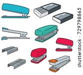 vector set of stapler | Shutterstock .eps vector #729798865