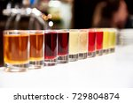 multicolored alcoholic shots on ... | Shutterstock . vector #729804874