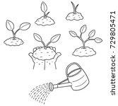 vector set of planting tree | Shutterstock .eps vector #729805471