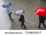 people run in the rainy weather ... | Shutterstock . vector #729805957