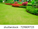 landscaped formal garden front... | Shutterstock . vector #729809725