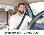 man on driver's seat of car | Shutterstock . vector #729814654