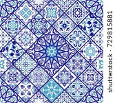 seamless vintage pattern with... | Shutterstock .eps vector #729815881