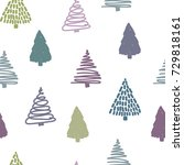 seamless christmas pattern with ... | Shutterstock .eps vector #729818161