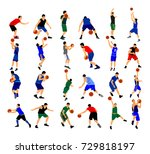 big group of basketball players ... | Shutterstock .eps vector #729818197