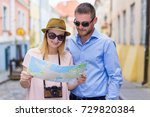 travel concept   young couple... | Shutterstock . vector #729820384