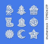 set of christmas icons. santa... | Shutterstock .eps vector #729826159