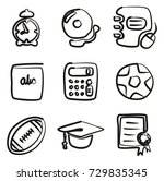 university icons freehand | Shutterstock .eps vector #729835345