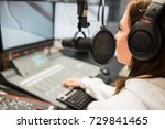 jockey wearing headphones while ... | Shutterstock . vector #729841465