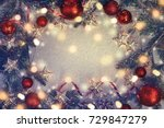 christmas holidays composition... | Shutterstock . vector #729847279