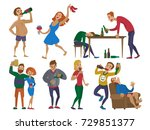 drunk cartoon people alcoholic... | Shutterstock .eps vector #729851377