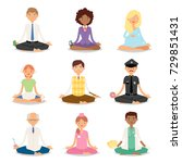 meditation vector yoga people... | Shutterstock .eps vector #729851431