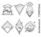 set of six ufo vector emblems ... | Shutterstock .eps vector #729855361