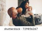 parents with their newborn baby ... | Shutterstock . vector #729856267