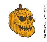 pumpkin halloween skull  | Shutterstock .eps vector #729859171