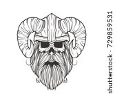 skull viking with horns and... | Shutterstock .eps vector #729859531