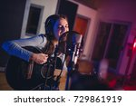 female vocal artist singing in... | Shutterstock . vector #729861919
