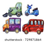 set of watercolor car stickers  ... | Shutterstock . vector #729871864