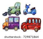 set of watercolor car stickers  ... | Shutterstock . vector #729871864