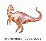 chomalocephalus. watercolor... | Shutterstock . vector #729872011