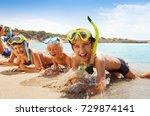 happy screaming boys in scuba... | Shutterstock . vector #729874141