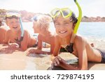 group of laughing kids in scuba ... | Shutterstock . vector #729874195