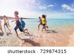 group of kids run away on sandy ... | Shutterstock . vector #729874315