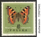 """Small photo of MOSCOW, RUSSIA - CIRCA OCTOBER, 2017: a post stamp printed in POLAND shows a butterfly Small Tortoiseshell (Aglais urticae), the seires """"Butterflies In Natural Colors"""", circa 1967"""