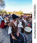 """Small photo of Queluz, Portugal - 16 September 2017: Band playing songs of the 18th century at """"Feira Setecentista de Queluz"""" - street fair that recriates the environment of the XVIII (18th) century"""