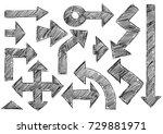 set of various vector doodle... | Shutterstock .eps vector #729881971