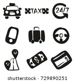 taxi icons freehand fill   Shutterstock .eps vector #729890251