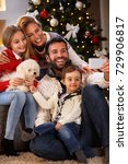 cheerful family with children... | Shutterstock . vector #729906817