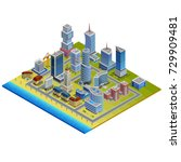 isometric city with modern and ... | Shutterstock . vector #729909481