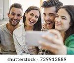 friends faving fun and making a ... | Shutterstock . vector #729912889