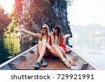 two enthusiastic women  best... | Shutterstock . vector #729921991