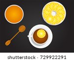 lemon tea and honey top view on ... | Shutterstock .eps vector #729922291