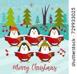 merry christmas card with choir ... | Shutterstock .eps vector #729933025