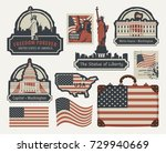 vector set of american symbols... | Shutterstock .eps vector #729940669