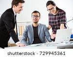 businesspeople discuss a new... | Shutterstock . vector #729945361