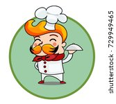 cartoon chef holding a dish... | Shutterstock .eps vector #729949465