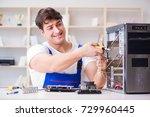 computer repairman repairing... | Shutterstock . vector #729960445