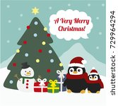 christmas greeting card with ... | Shutterstock .eps vector #729964294