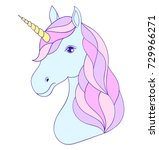 head of hand drawn unicorn on... | Shutterstock .eps vector #729966271