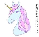 head of hand drawn unicorn on... | Shutterstock .eps vector #729966271