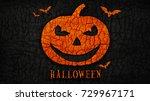 abstract halloween pumpkin on... | Shutterstock . vector #729967171