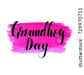 groundhog day. lettering... | Shutterstock . vector #729970711