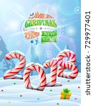new year 2018 in shape of candy ... | Shutterstock .eps vector #729977401
